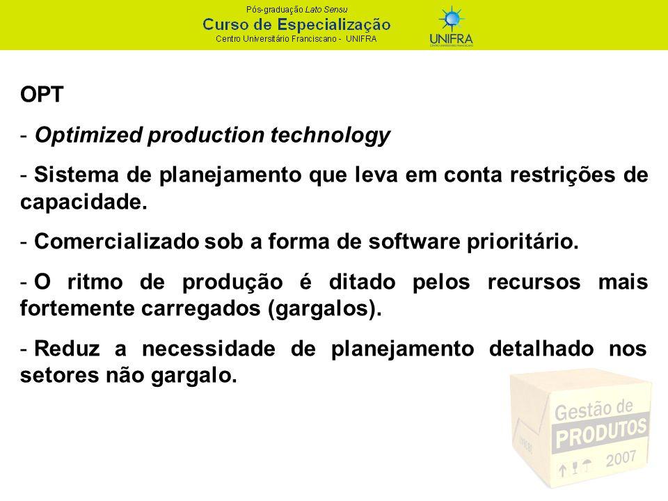 OPT Optimized production technology. Sistema de planejamento que leva em conta restrições de capacidade.