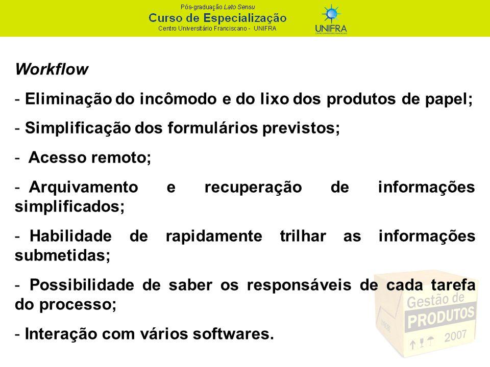 Workflow Eliminação do incômodo e do lixo dos produtos de papel; Simplificação dos formulários previstos;