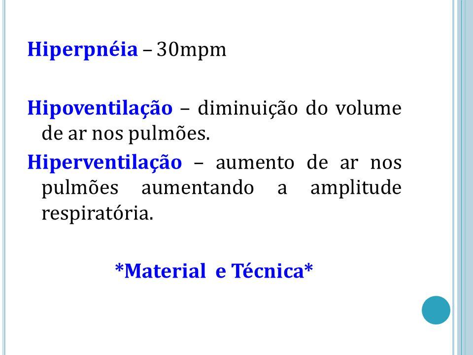 Hiperpnéia – 30mpm Hipoventilação – diminuição do volume de ar nos pulmões.