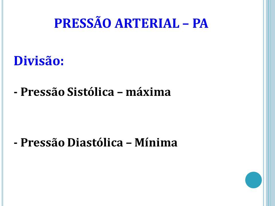 PRESSÃO ARTERIAL – PA Divisão: - Pressão Sistólica – máxima