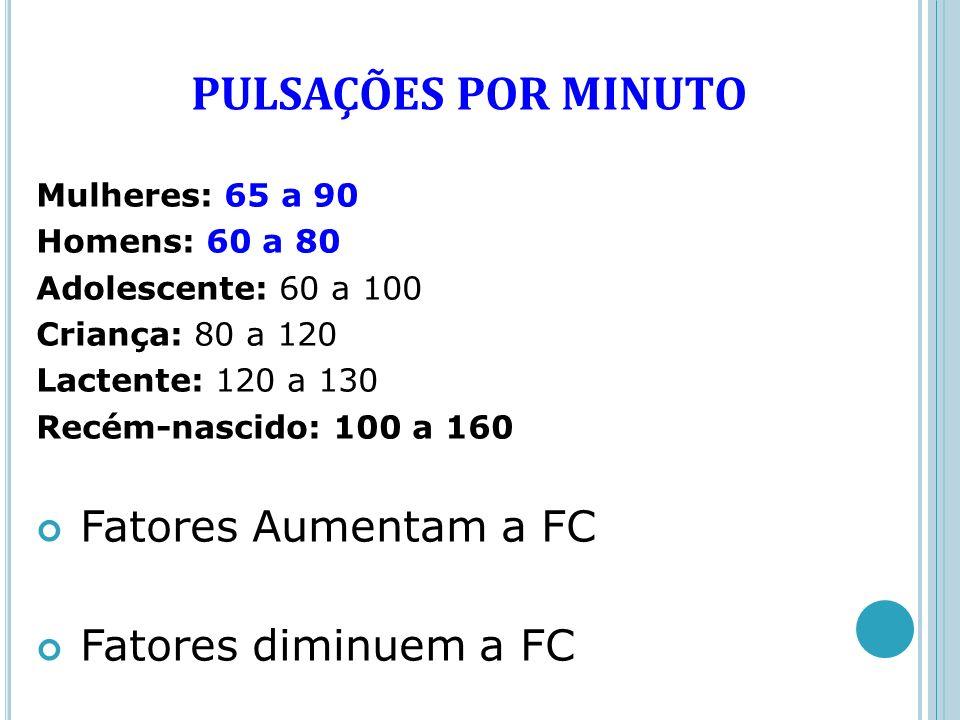 PULSAÇÕES POR MINUTO Fatores Aumentam a FC Fatores diminuem a FC