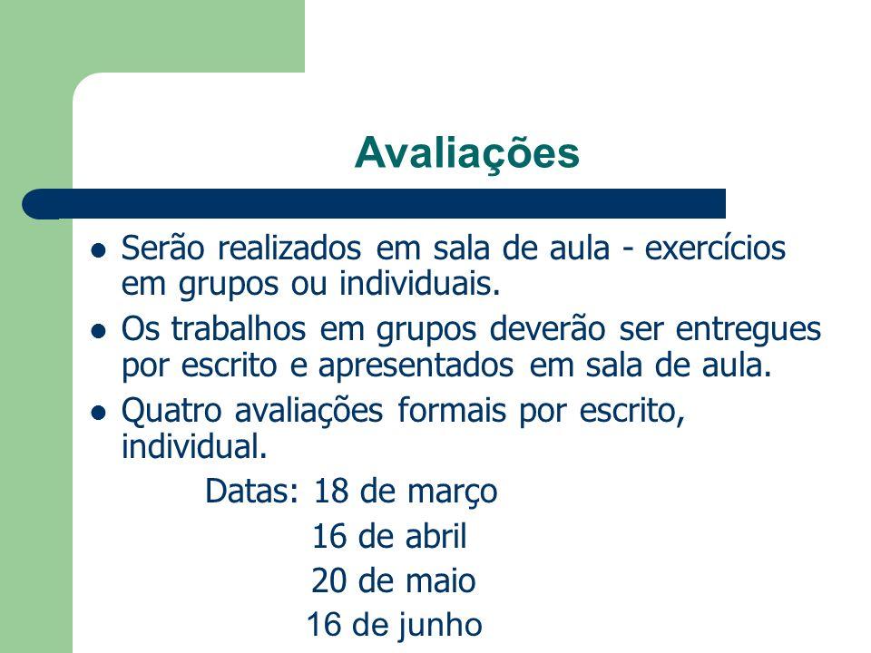Avaliações Serão realizados em sala de aula - exercícios em grupos ou individuais.