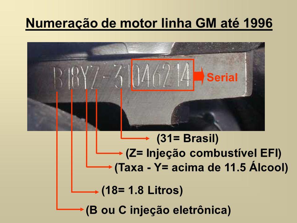 Numeração de motor linha GM até 1996