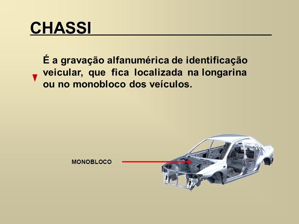 CHASSI É a gravação alfanumérica de identificação