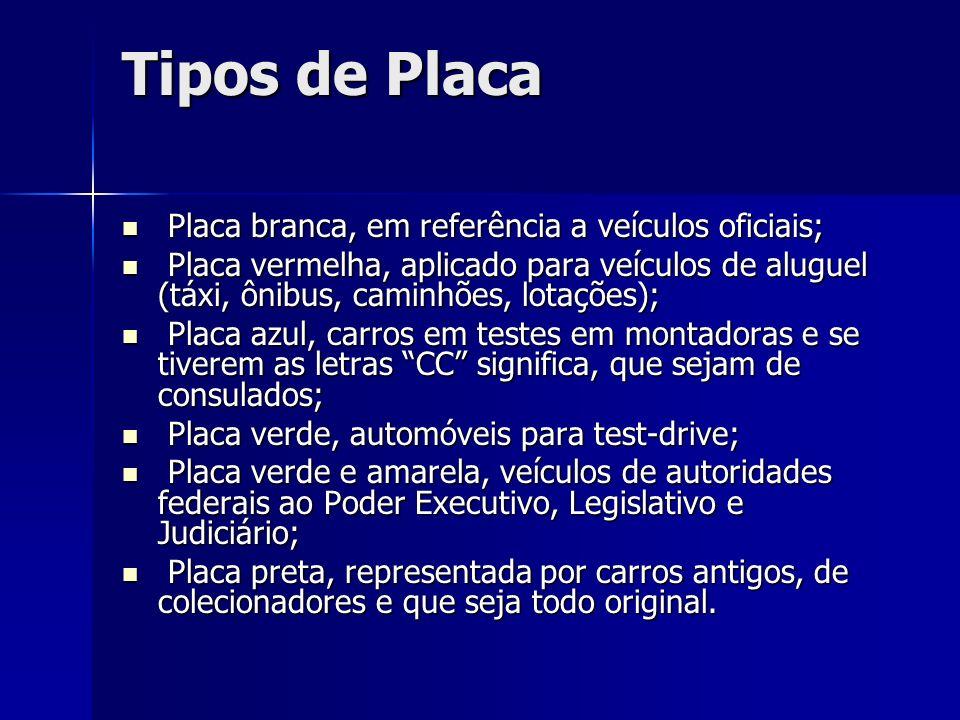 Tipos de Placa Placa branca, em referência a veículos oficiais;