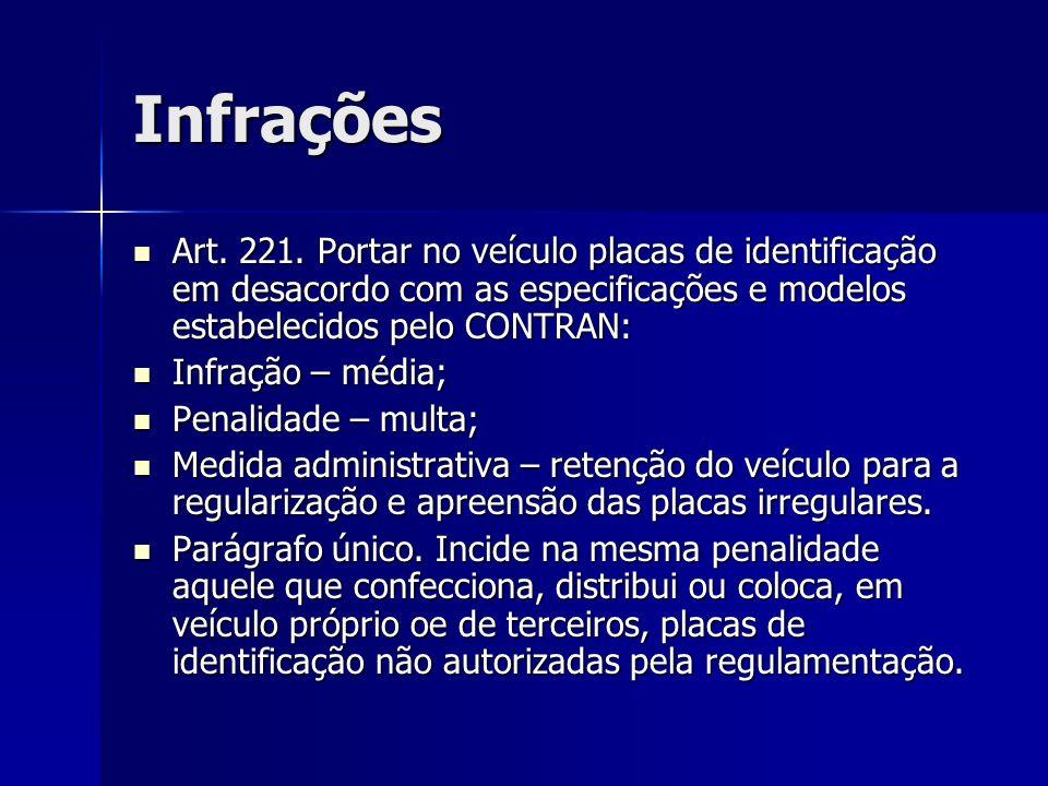 Infrações Art. 221. Portar no veículo placas de identificação em desacordo com as especificações e modelos estabelecidos pelo CONTRAN: