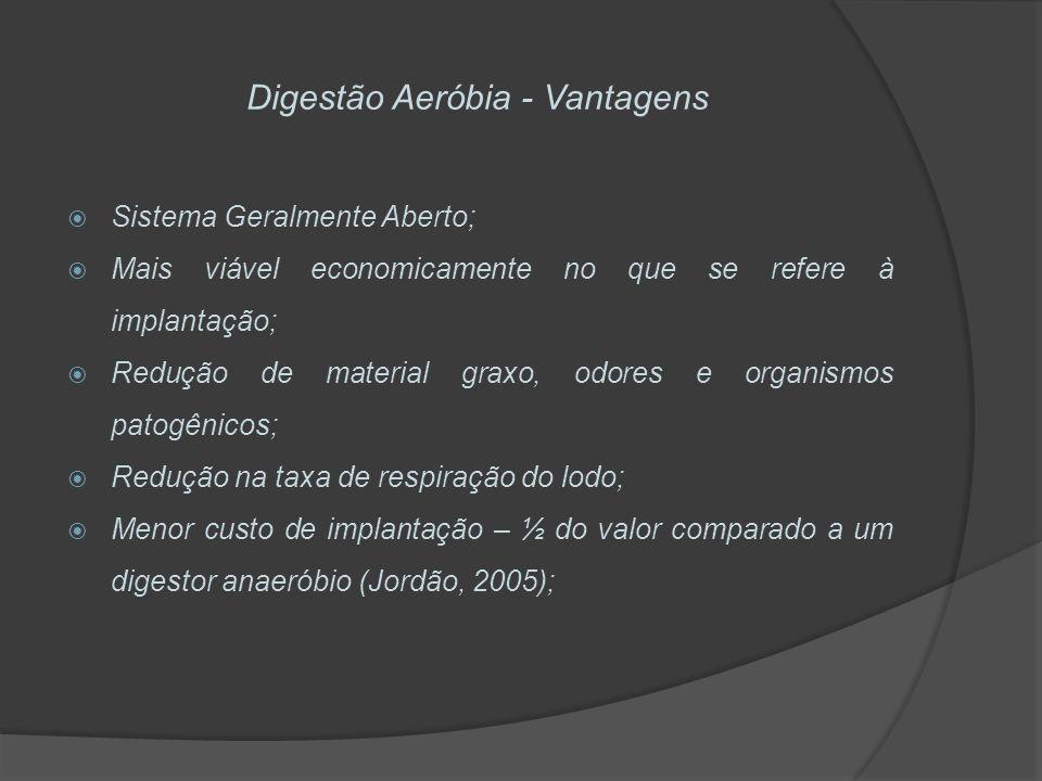 Digestão Aeróbia - Vantagens