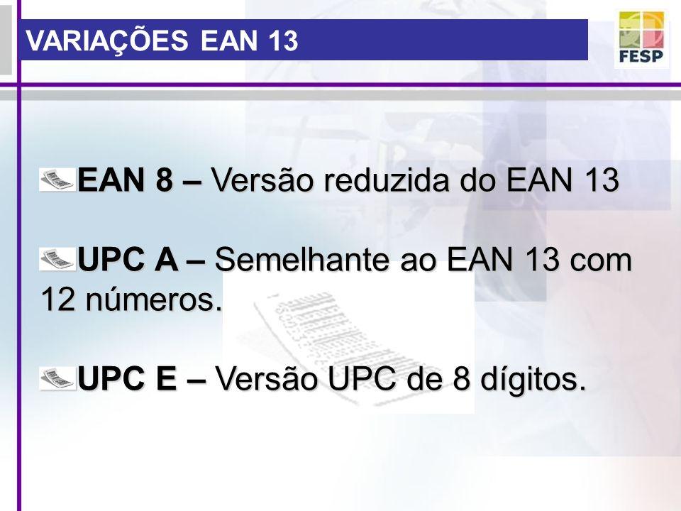 EAN 8 – Versão reduzida do EAN 13