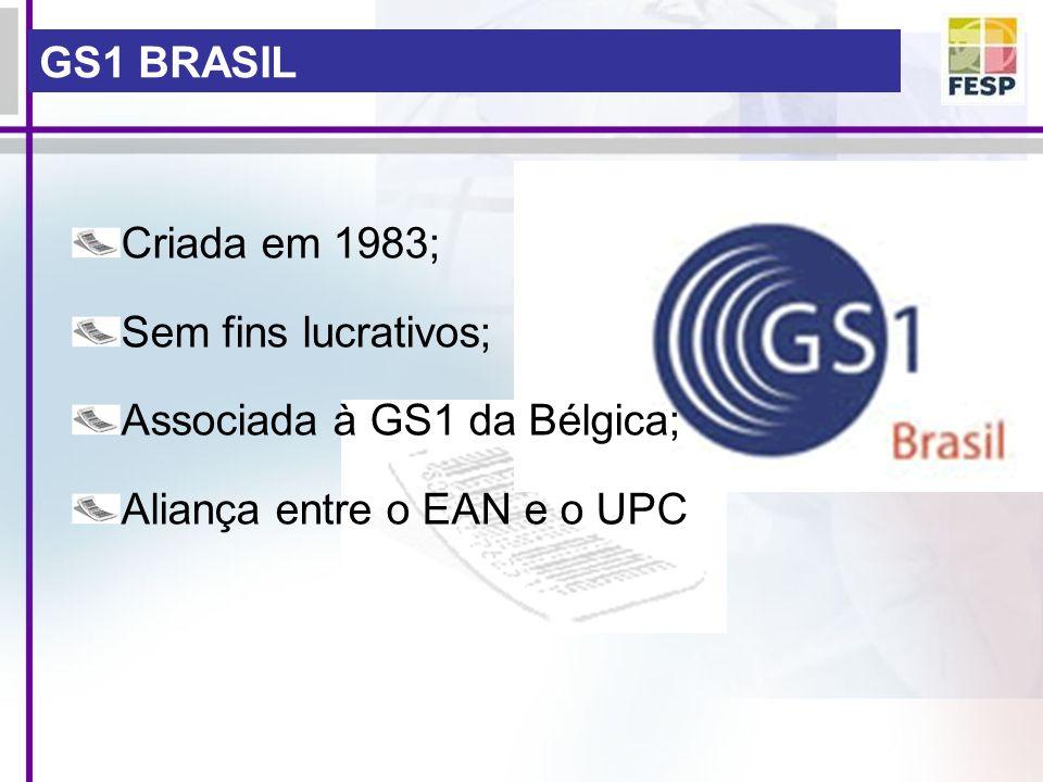 GS1 BRASIL Criada em 1983; Sem fins lucrativos; Associada à GS1 da Bélgica; Aliança entre o EAN e o UPC.