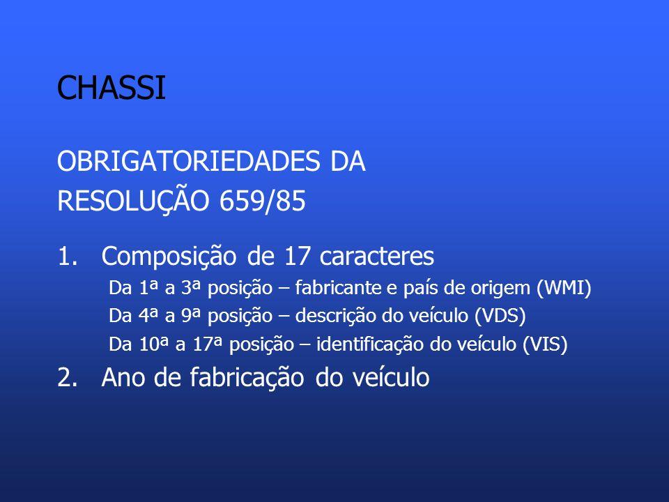 CHASSI OBRIGATORIEDADES DA RESOLUÇÃO 659/85