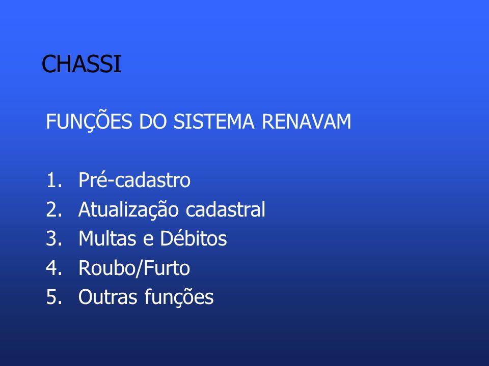CHASSI FUNÇÕES DO SISTEMA RENAVAM Pré-cadastro Atualização cadastral