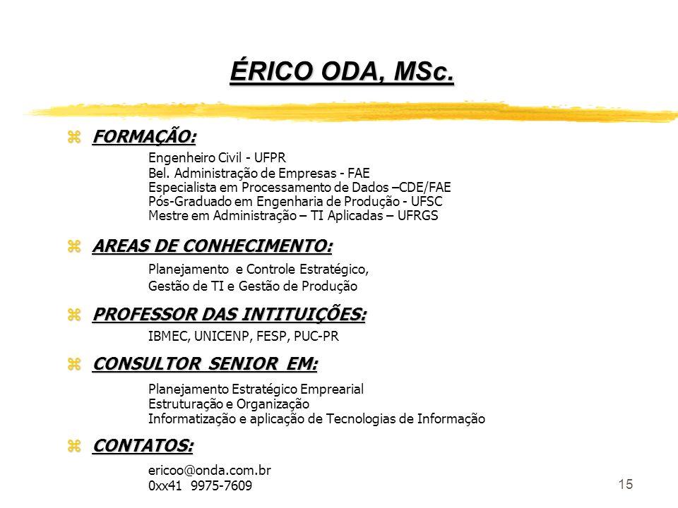 ÉRICO ODA, MSc. FORMAÇÃO: AREAS DE CONHECIMENTO: