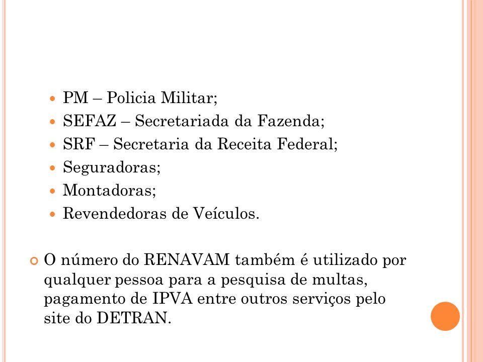 PM – Policia Militar; SEFAZ – Secretariada da Fazenda; SRF – Secretaria da Receita Federal; Seguradoras;