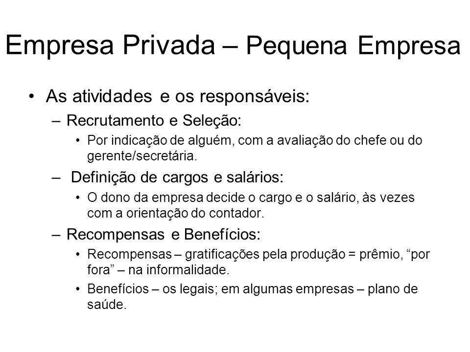 Empresa Privada – Pequena Empresa
