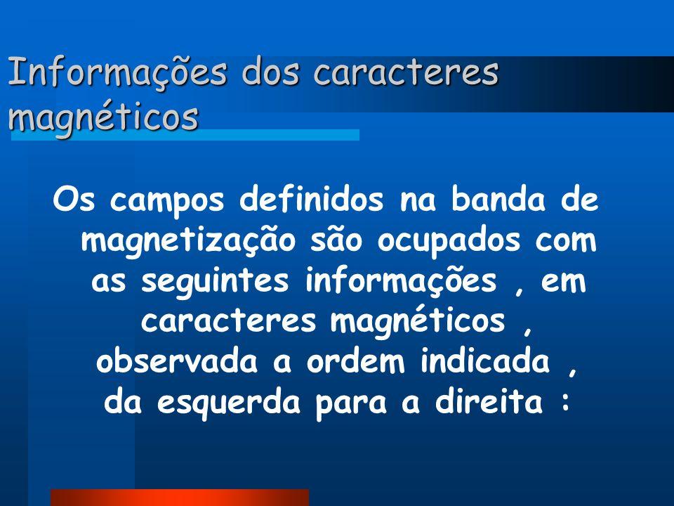 Informações dos caracteres magnéticos
