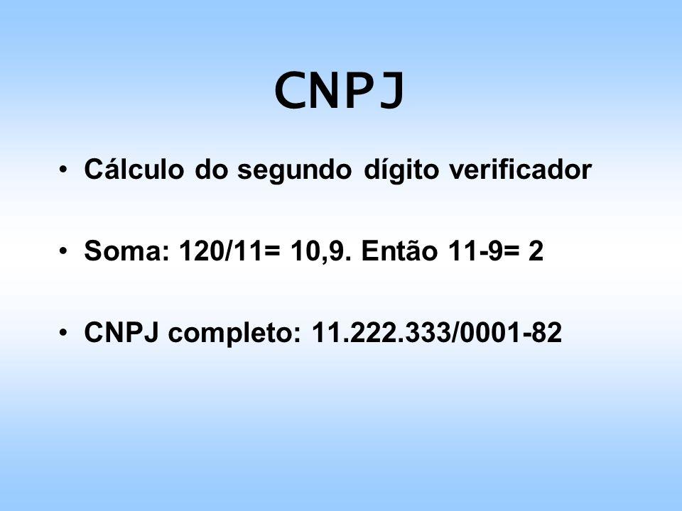CNPJ Cálculo do segundo dígito verificador