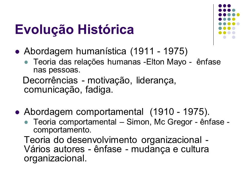 Evolução Histórica Abordagem humanística (1911 - 1975)