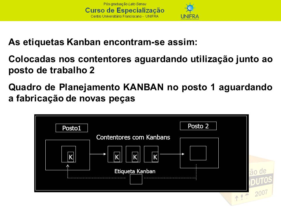 As etiquetas Kanban encontram-se assim: