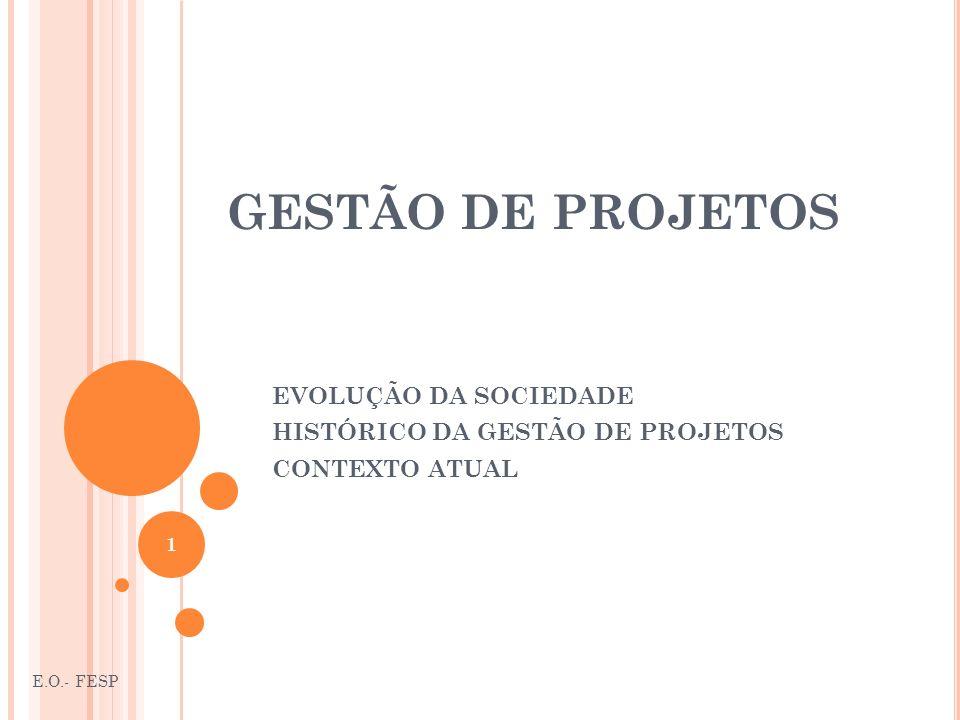EVOLUÇÃO DA SOCIEDADE HISTÓRICO DA GESTÃO DE PROJETOS CONTEXTO ATUAL