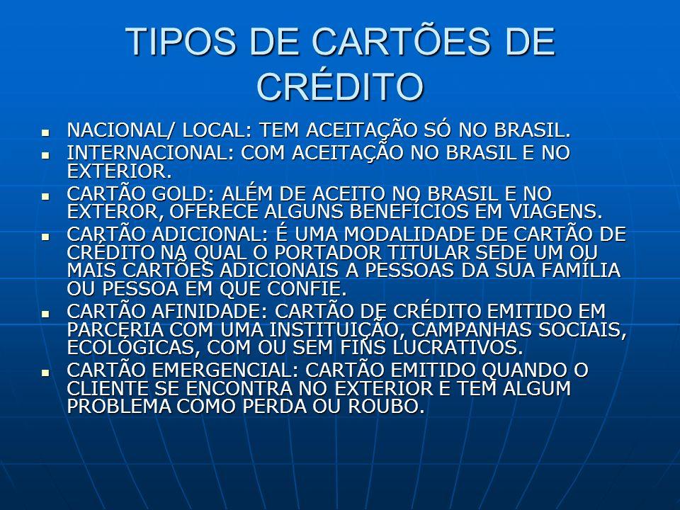 TIPOS DE CARTÕES DE CRÉDITO