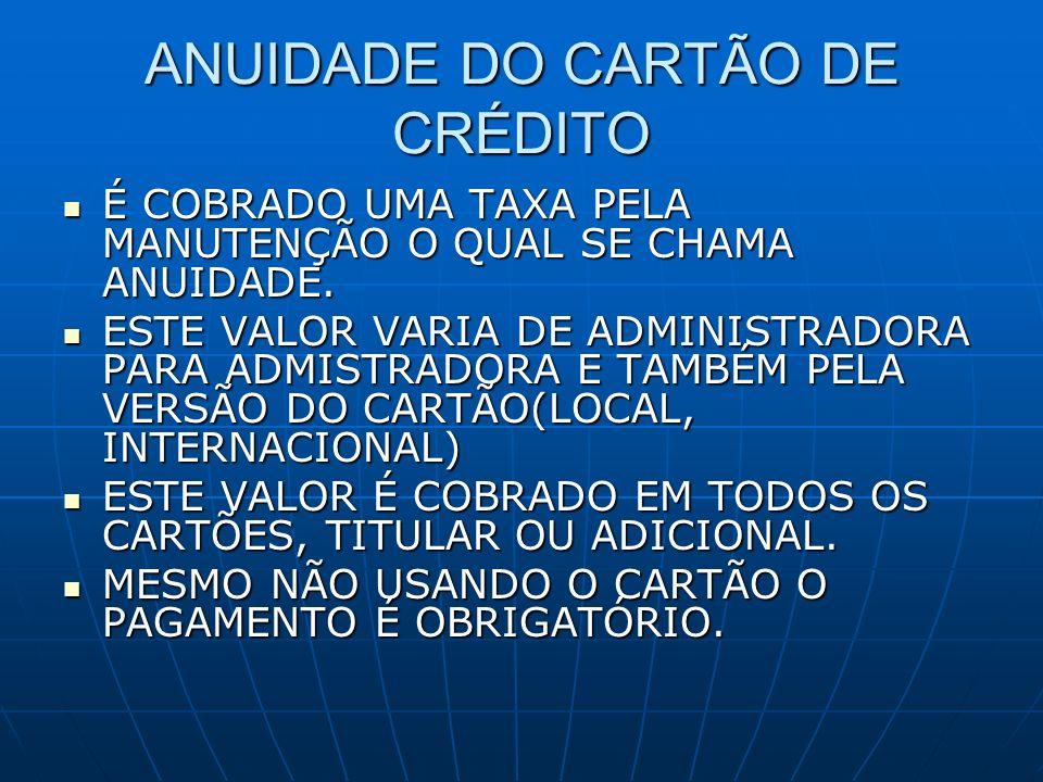 ANUIDADE DO CARTÃO DE CRÉDITO