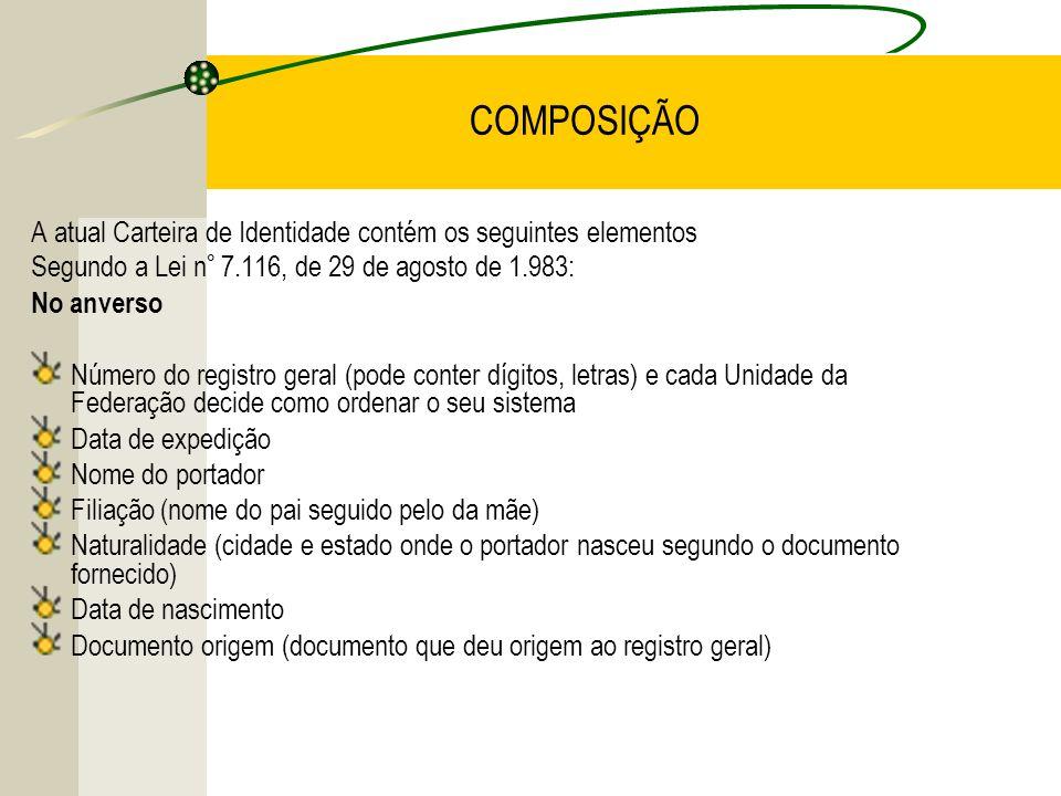 COMPOSIÇÃOA atual Carteira de Identidade contém os seguintes elementos. Segundo a Lei n° 7.116, de 29 de agosto de 1.983: