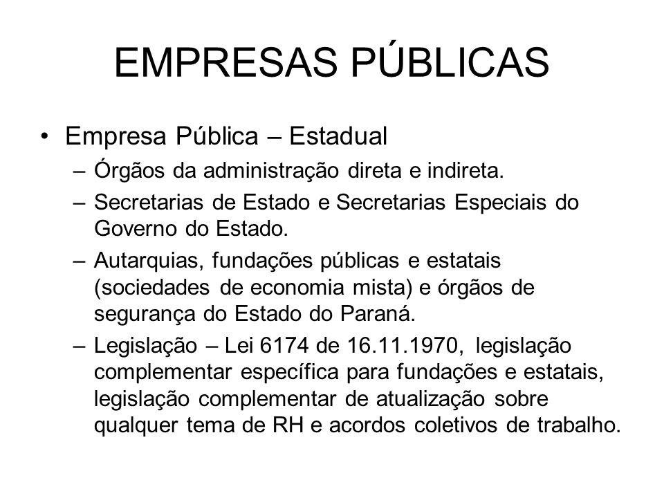 EMPRESAS PÚBLICAS Empresa Pública – Estadual