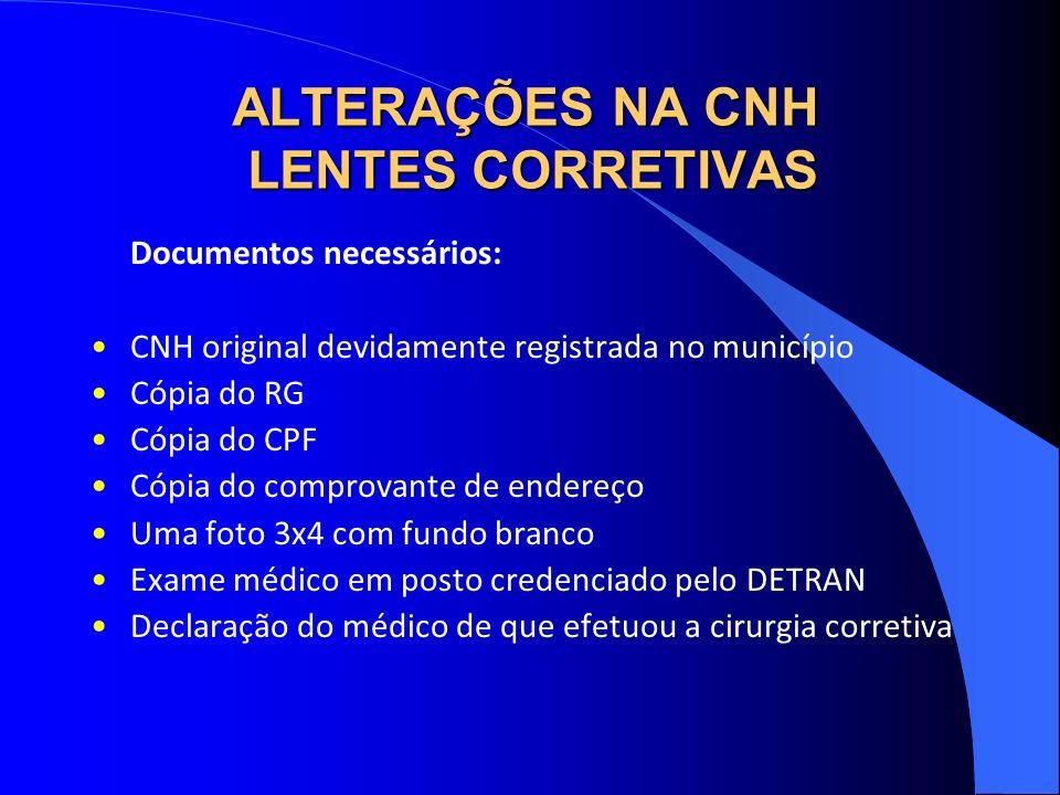 ALTERAÇÕES NA CNH LENTES CORRETIVAS