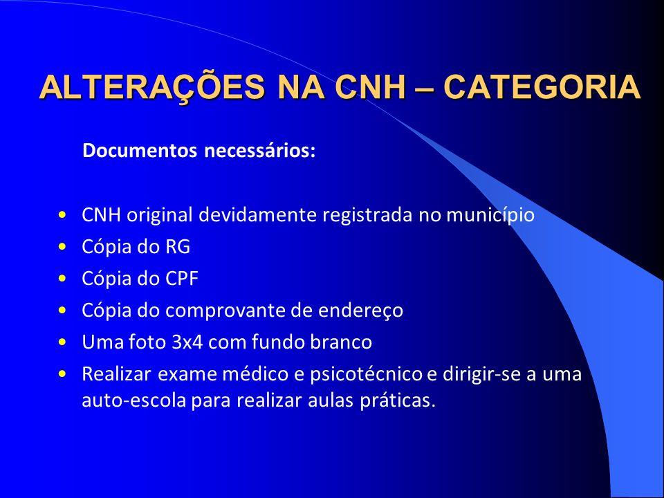 ALTERAÇÕES NA CNH – CATEGORIA