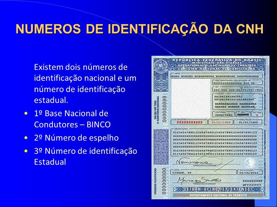 NUMEROS DE IDENTIFICAÇÃO DA CNH