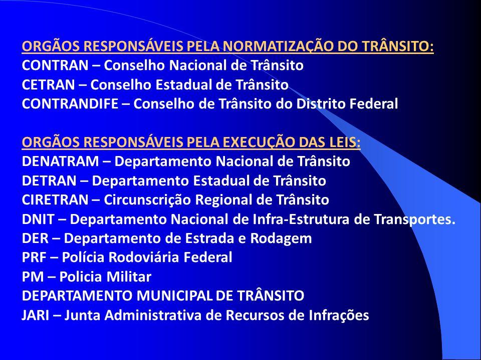 ORGÃOS RESPONSÁVEIS PELA NORMATIZAÇÃO DO TRÂNSITO: