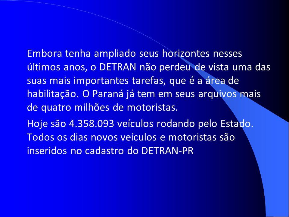 Embora tenha ampliado seus horizontes nesses últimos anos, o DETRAN não perdeu de vista uma das suas mais importantes tarefas, que é a área de habilitação. O Paraná já tem em seus arquivos mais de quatro milhões de motoristas.