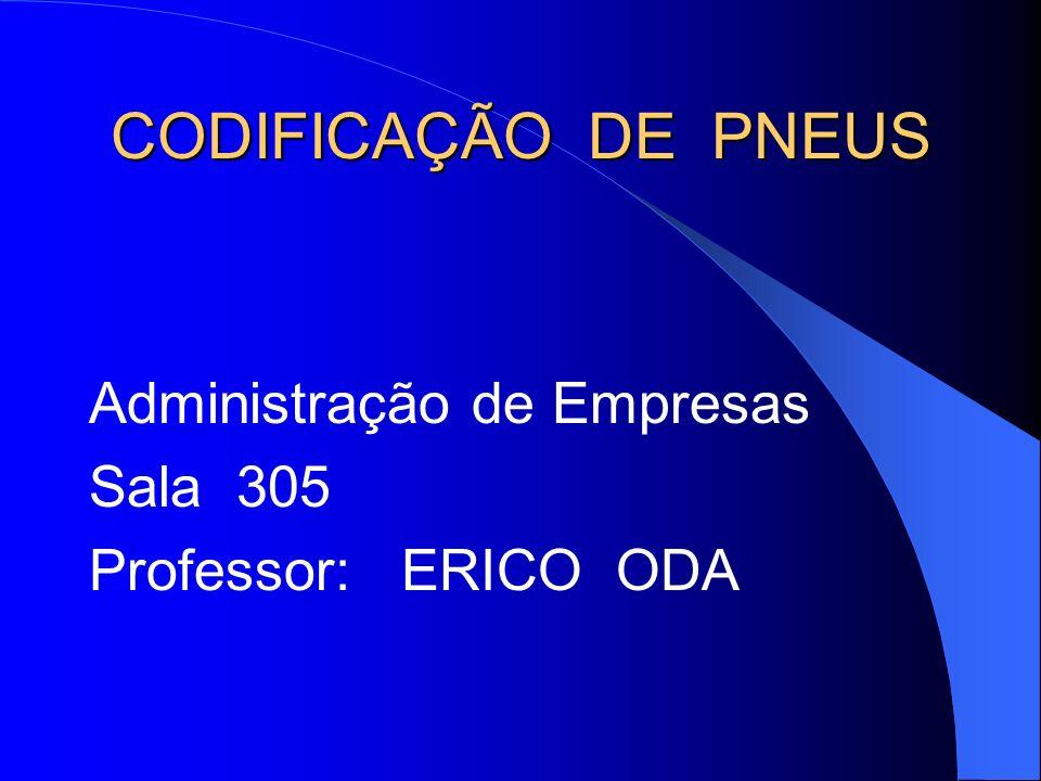 CODIFICAÇÃO DE PNEUS Administração de Empresas Sala 305