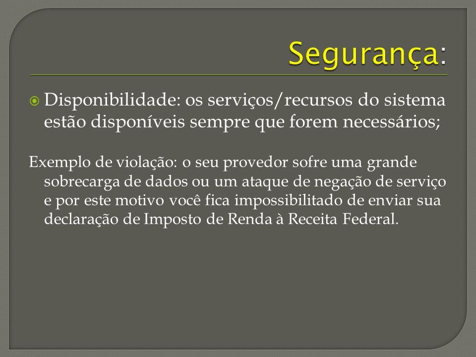 Segurança: Disponibilidade: os serviços/recursos do sistema estão disponíveis sempre que forem necessários;