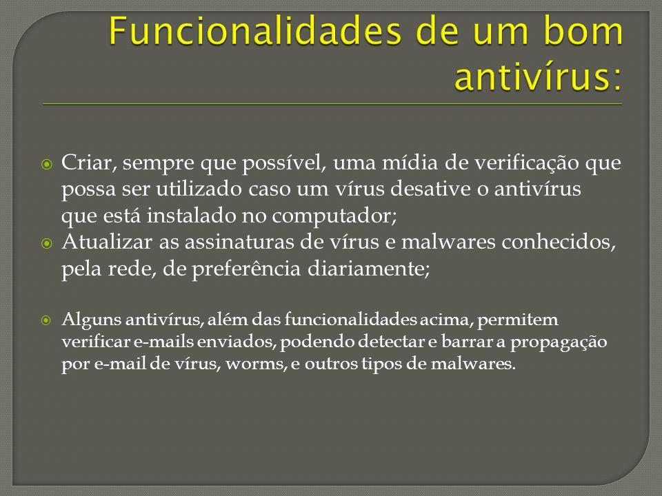 Funcionalidades de um bom antivírus: