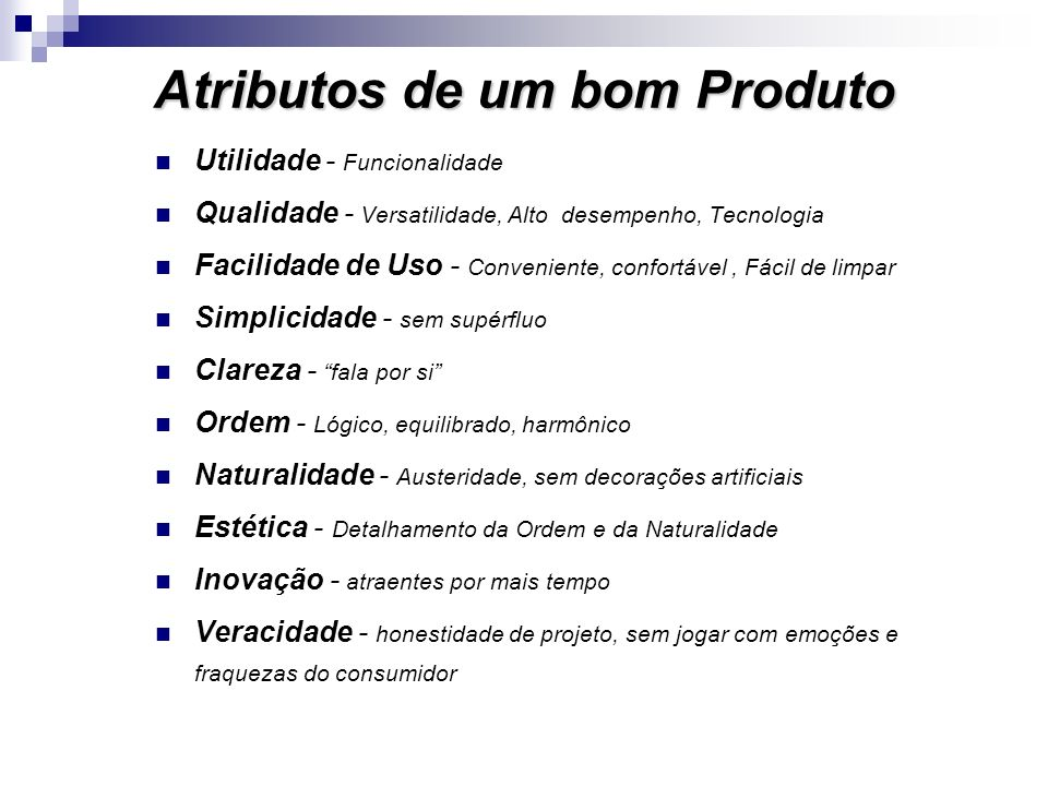 Atributos de um bom Produto