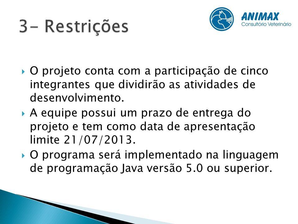 3- Restrições O projeto conta com a participação de cinco integrantes que dividirão as atividades de desenvolvimento.