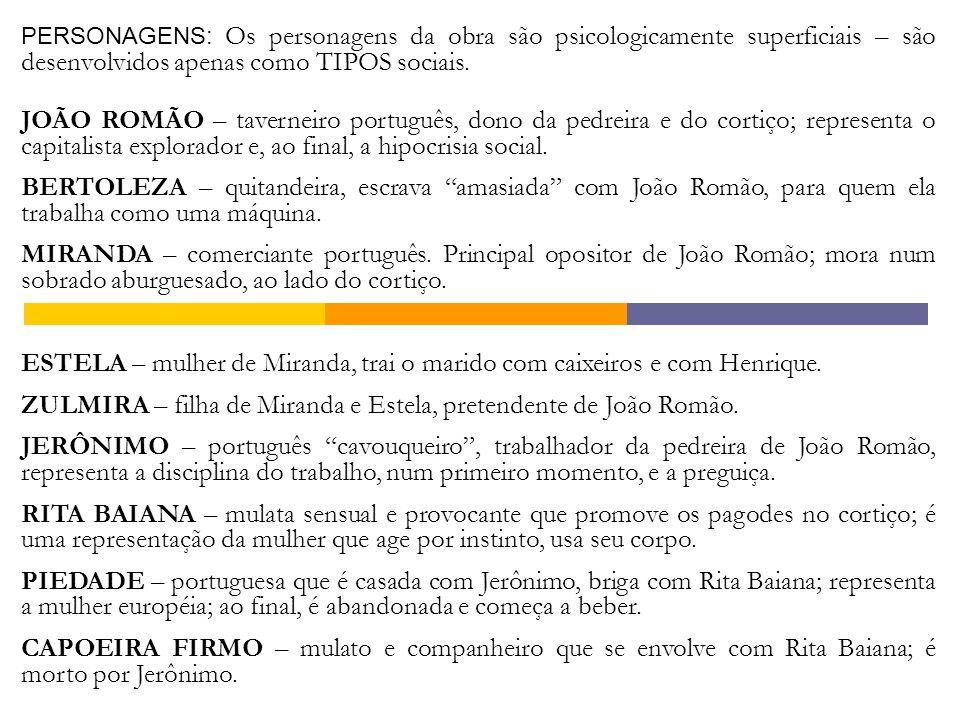 ZULMIRA – filha de Miranda e Estela, pretendente de João Romão.