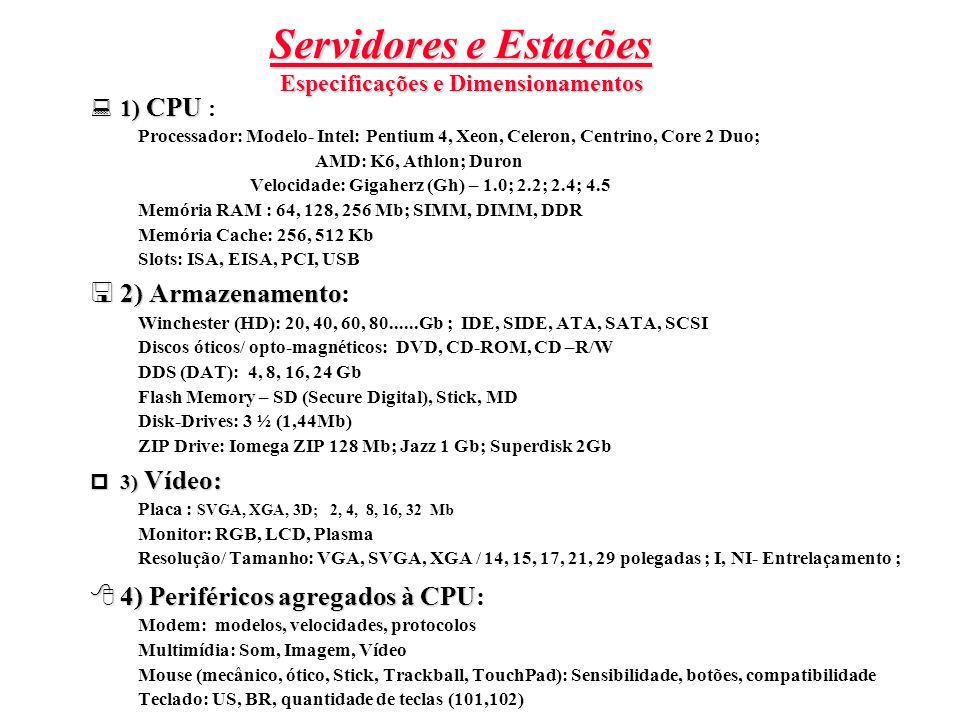 Servidores e Estações Especificações e Dimensionamentos