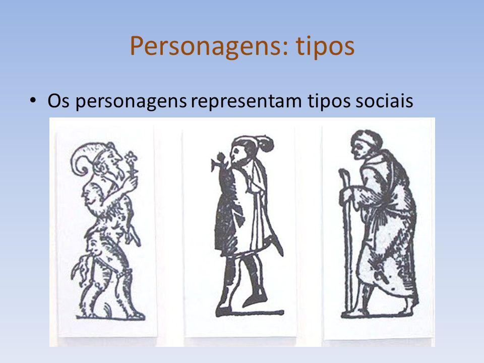 Personagens: tipos Os personagens representam tipos sociais