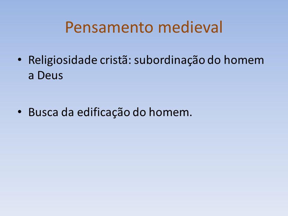 Pensamento medieval Religiosidade cristã: subordinação do homem a Deus