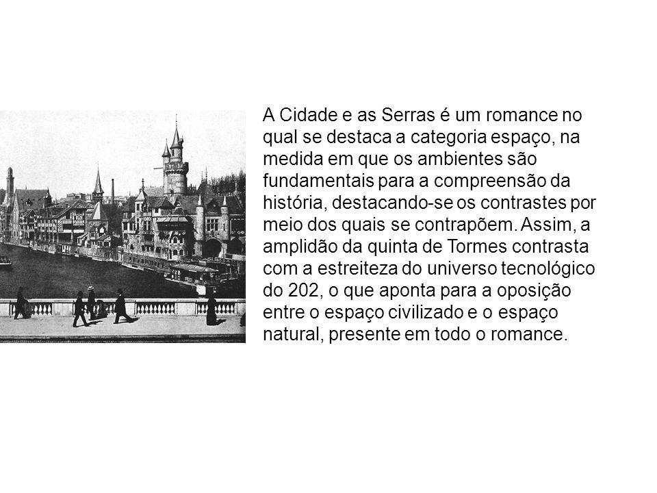 A Cidade e as Serras é um romance no qual se destaca a categoria espaço, na medida em que os ambientes são fundamentais para a compreensão da história, destacando-se os contrastes por meio dos quais se contrapõem.