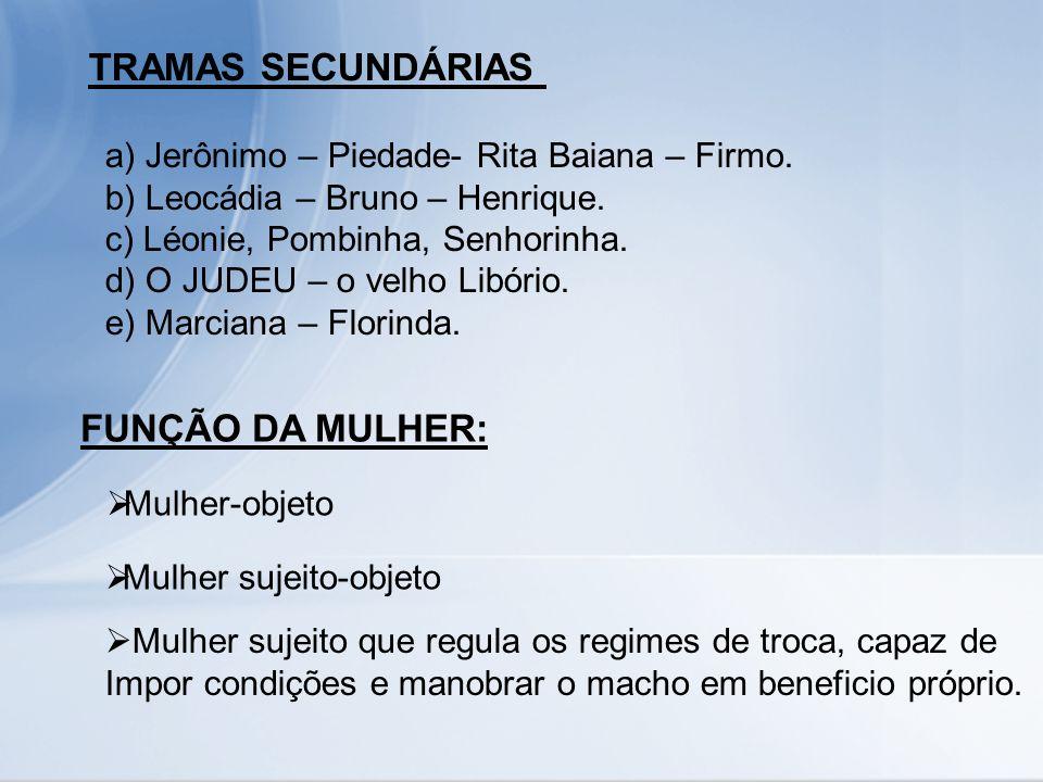 TRAMAS SECUNDÁRIAS FUNÇÃO DA MULHER: