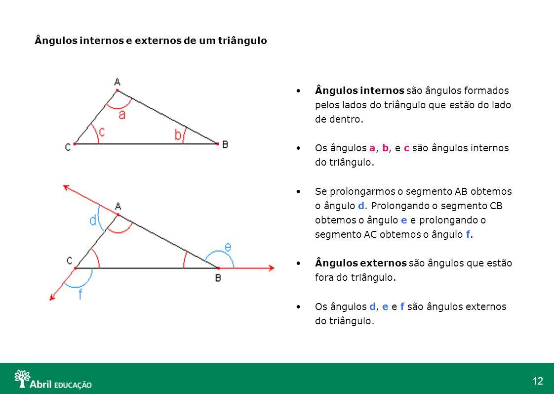 Ângulos internos e externos de um triângulo