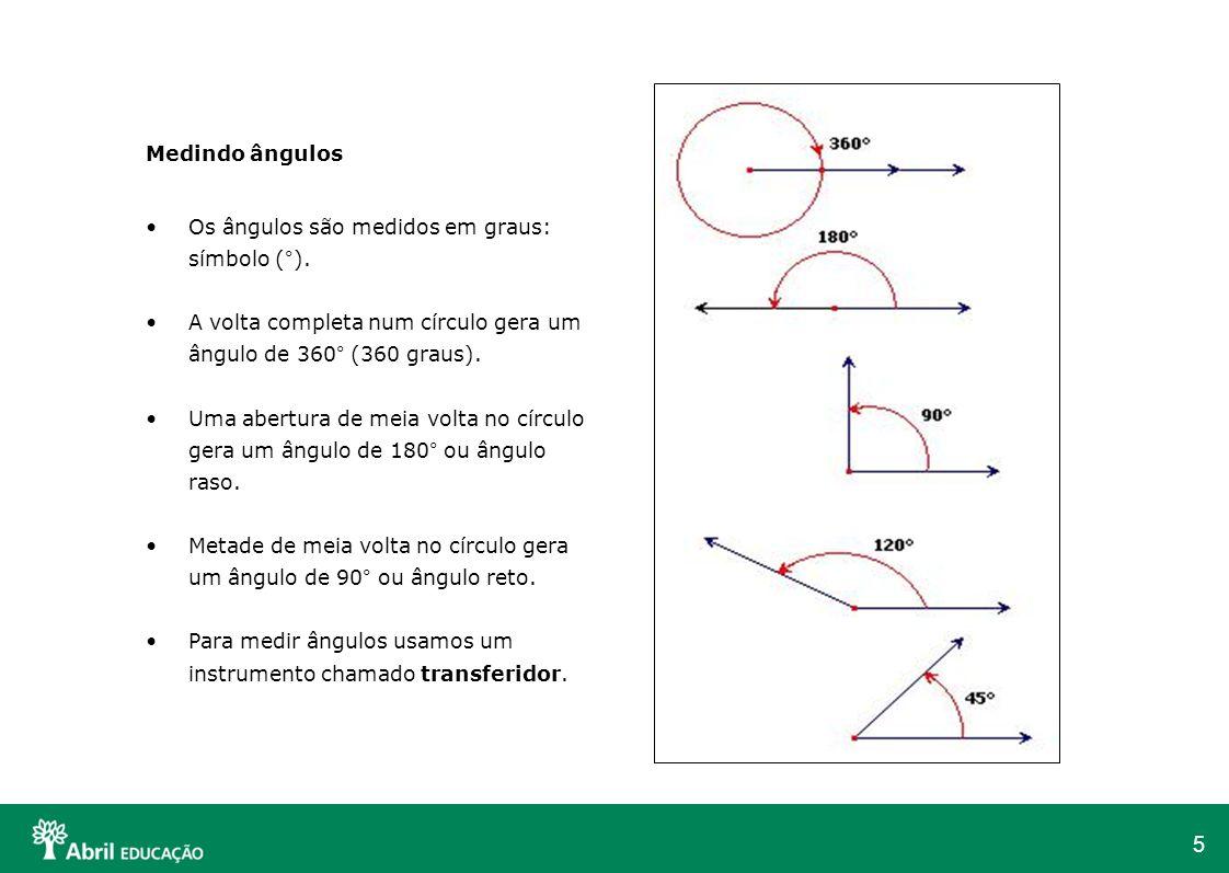 Medindo ângulos Os ângulos são medidos em graus: símbolo (°). A volta completa num círculo gera um ângulo de 360° (360 graus).