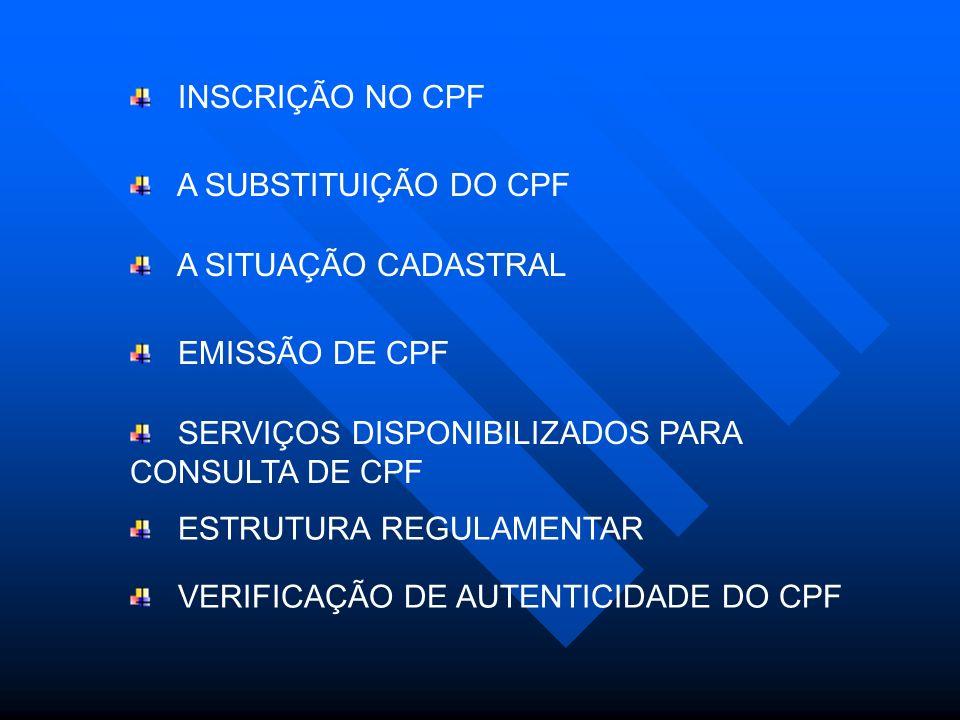 INSCRIÇÃO NO CPF A SUBSTITUIÇÃO DO CPF. A SITUAÇÃO CADASTRAL. EMISSÃO DE CPF. SERVIÇOS DISPONIBILIZADOS PARA CONSULTA DE CPF.