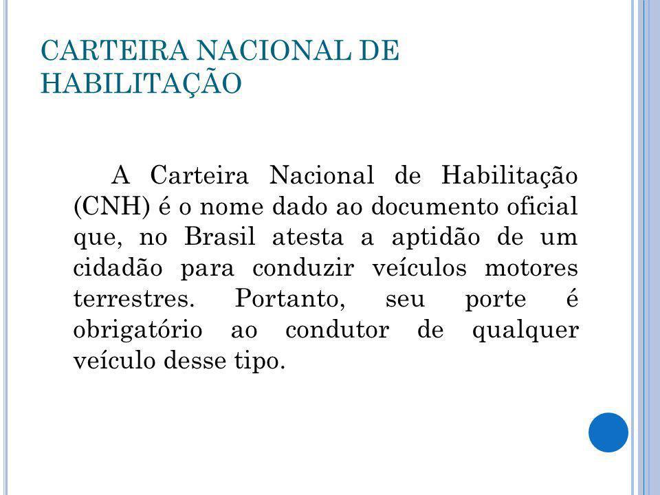 CARTEIRA NACIONAL DE HABILITAÇÃO