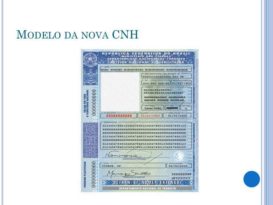 Modelo da nova CNH