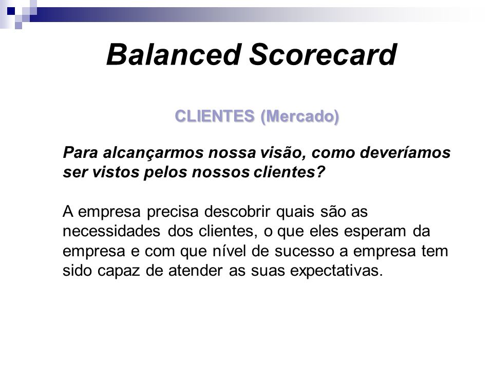 Balanced Scorecard CLIENTES (Mercado)