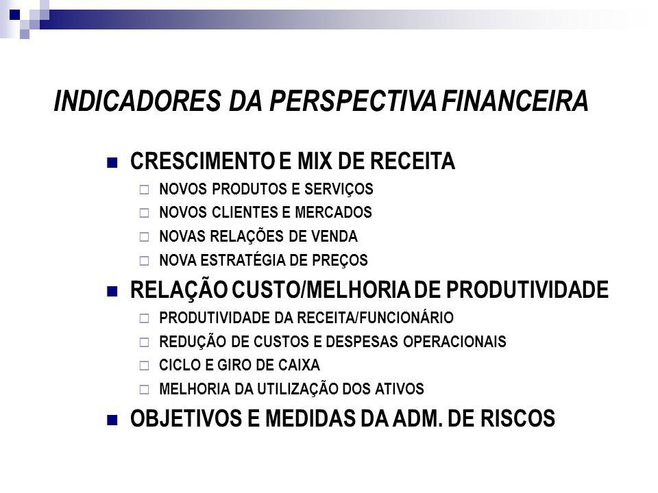 INDICADORES DA PERSPECTIVA FINANCEIRA